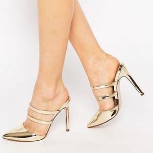 ASOS Metallic Gold Platoon Heels, Size 6